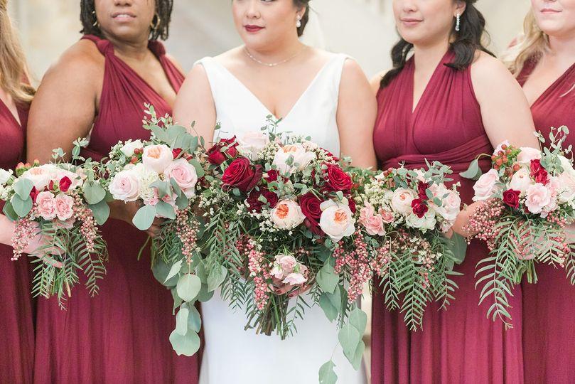 Wedding party floral arrangements