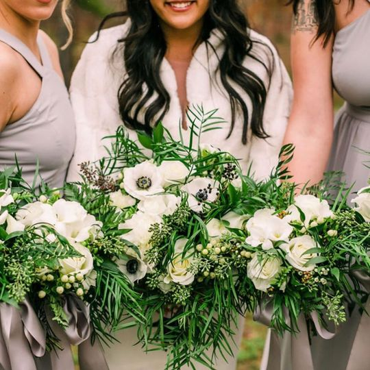 Floral arrangements with greenery