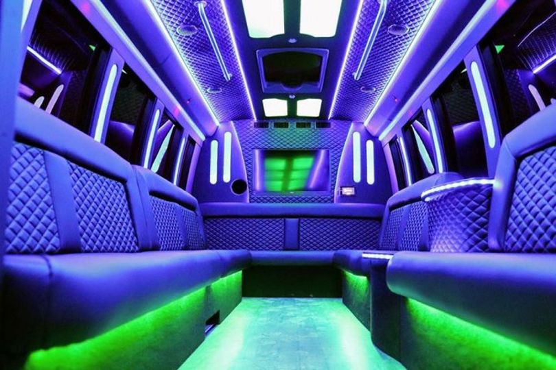 23 passenger limo in green