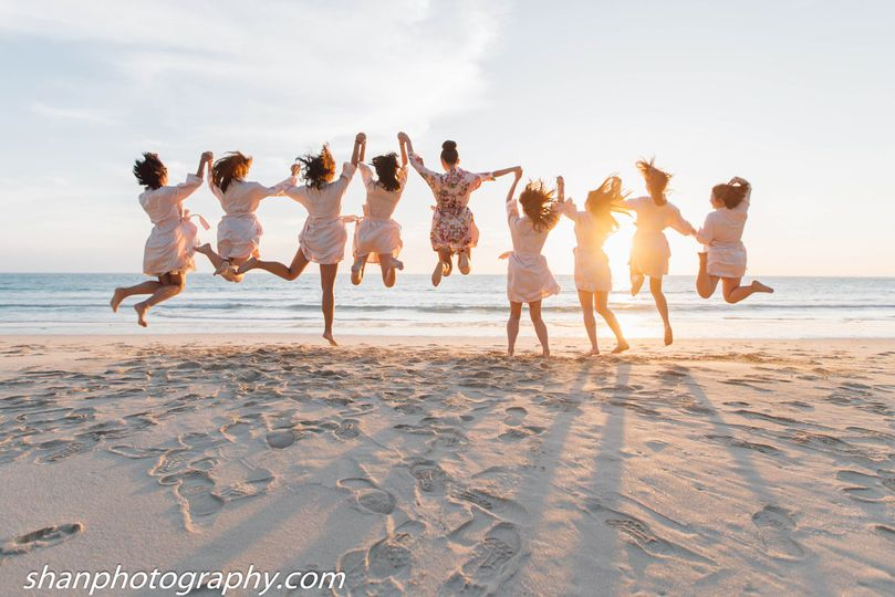 Bridemaids On Beach