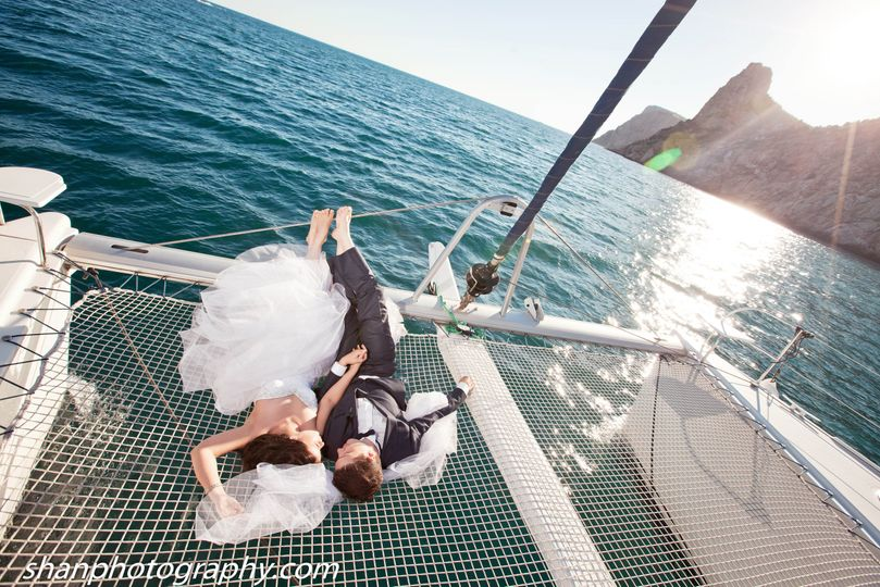 Bride & Groom On Boat