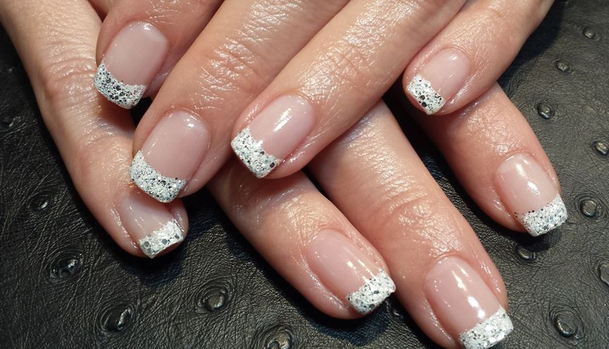 silver glitter french tip manicure