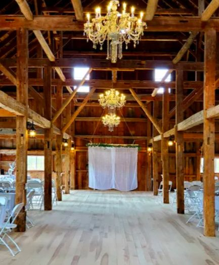 Barn with chandeliers