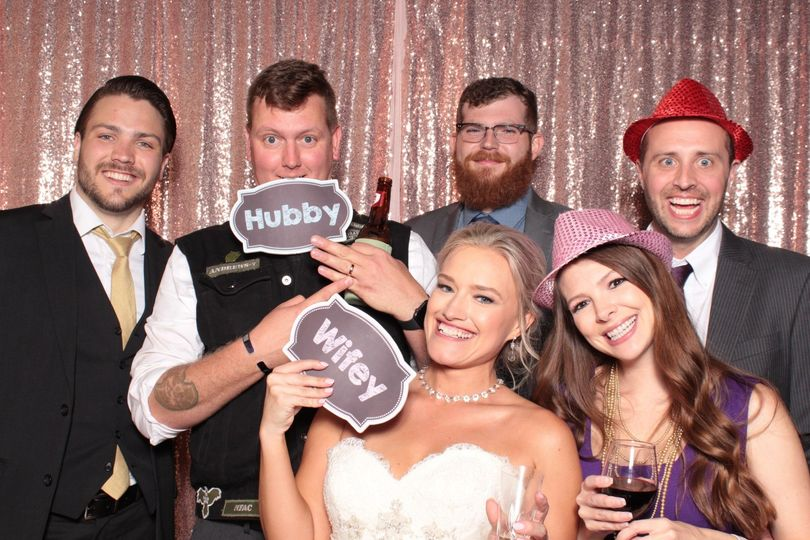 Wedding party in photo booth