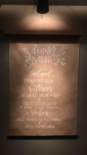Modern calligraphy menu