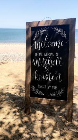 Welcome sign: chalkboard