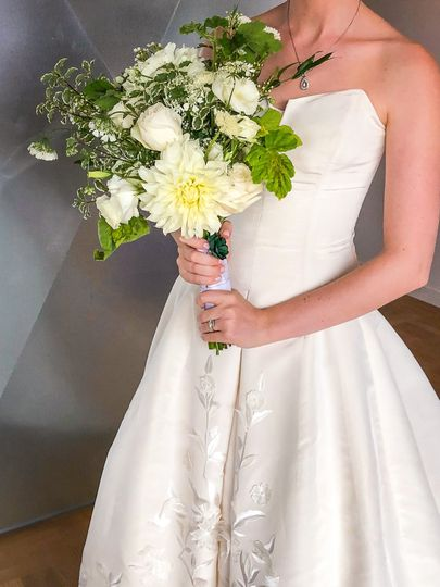 All white dahlia bouquet
