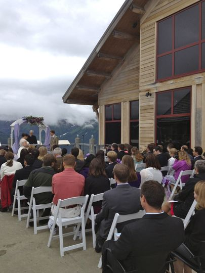 Bore Tide Cafe Deck Wedding Ceremony - Mountain Top, Alyeska Resort