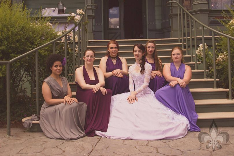 A wedding party on front porch