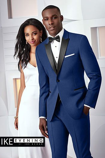 Wedding dress and blue tuxedo