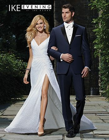 Sharp tuxedo and wedding dress with high slit