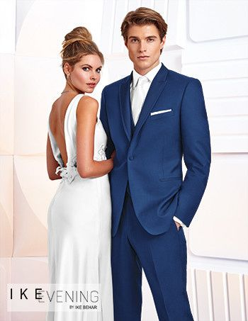 Backless wedding dress and navy suit