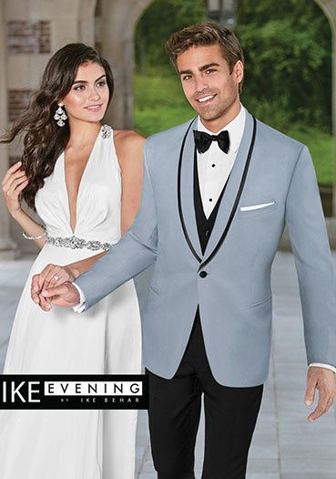 Grey tuxedo jacket with black lapel lining