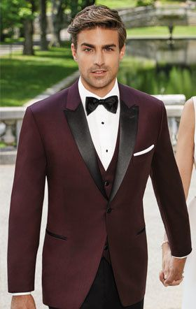 Maroon jacket with black lapel