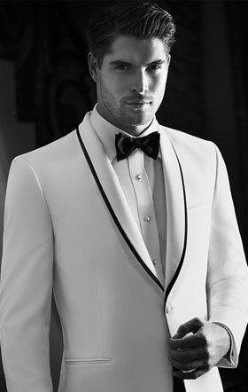 White tuxedo with black laepl lining