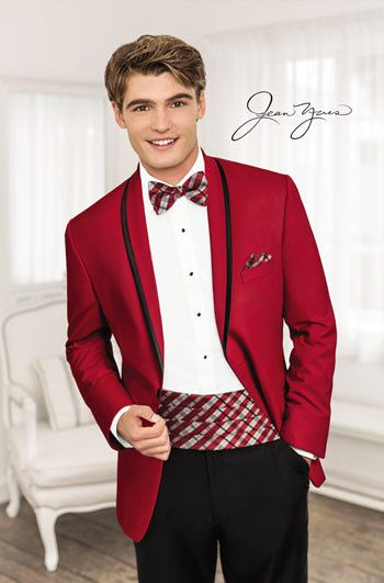 Red jacket with patterned bow tie and cummerbund