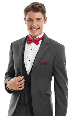 3-piece suit with red bow tie