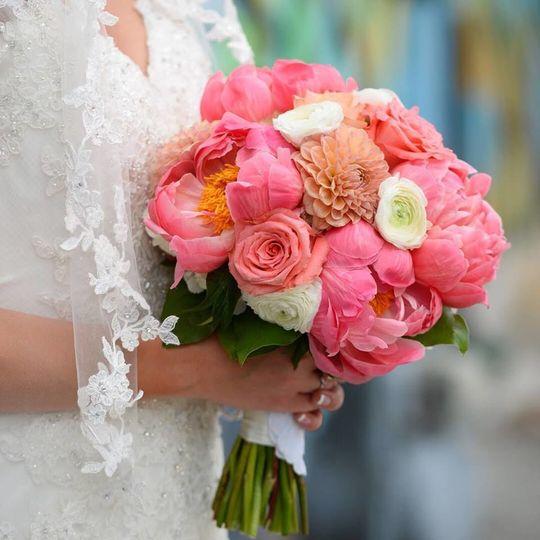 Pink wedding bouquet
