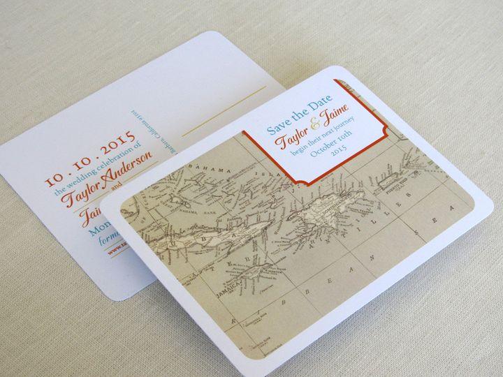 Tmx 1437502121201 Caribbean Map Save The Date Phoenixville wedding invitation