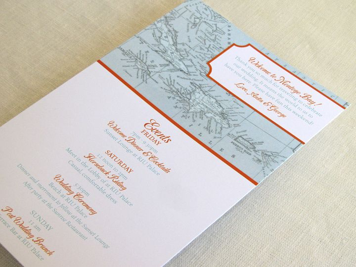 Tmx 1437502183299 Caribbean Itinerary Card Long Phoenixville wedding invitation