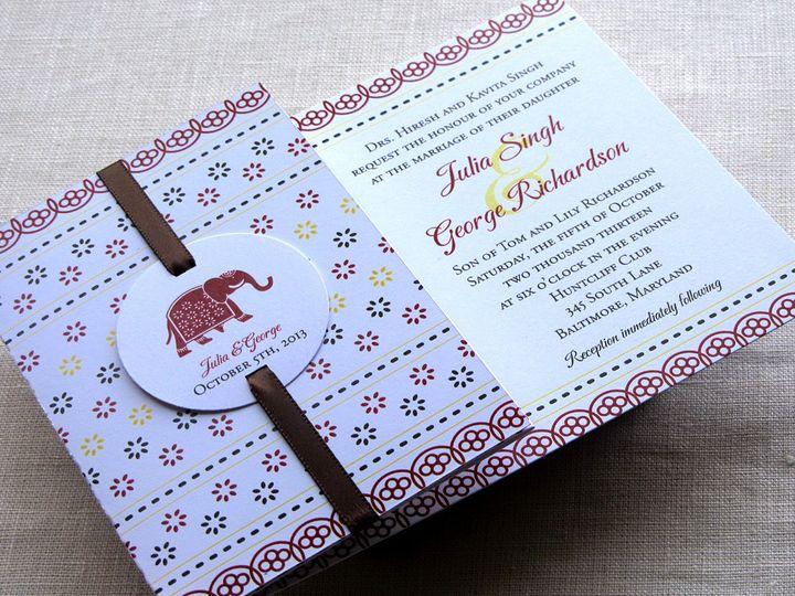 Tmx 1437502308709 Jaipur Elephant Flap Fold Invitation 2 Phoenixville wedding invitation