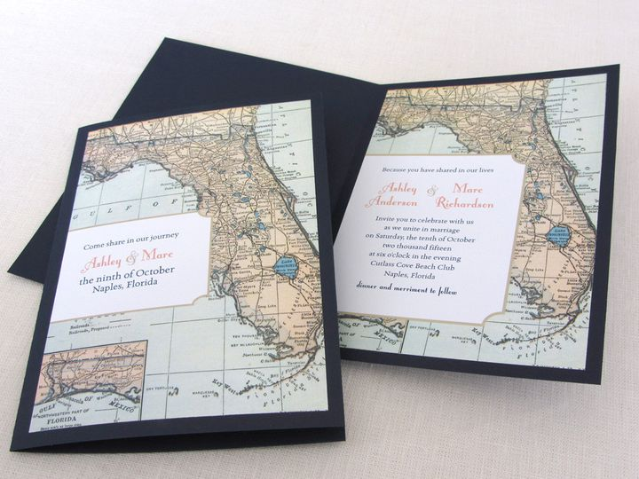 Tmx 1437502397980 Florida Map Color Booklet Invite With Cover Phoenixville wedding invitation