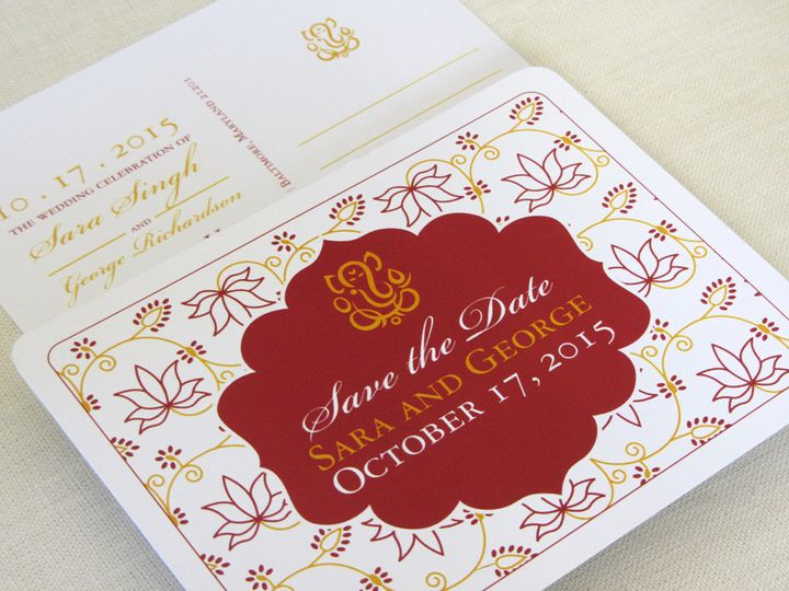 Tmx 1437502472030 Ganesh Lotus Save The Date2 Phoenixville wedding invitation