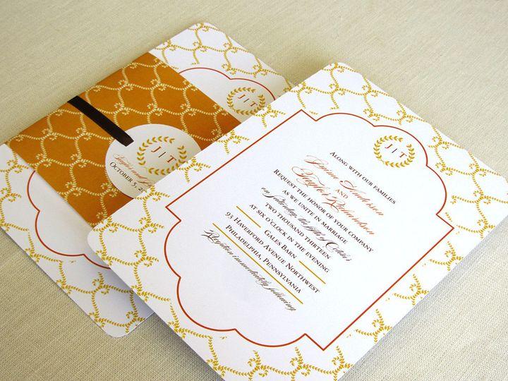 Tmx 1437505185541 Laurel Wreath Invitation With Wrap Phoenixville wedding invitation