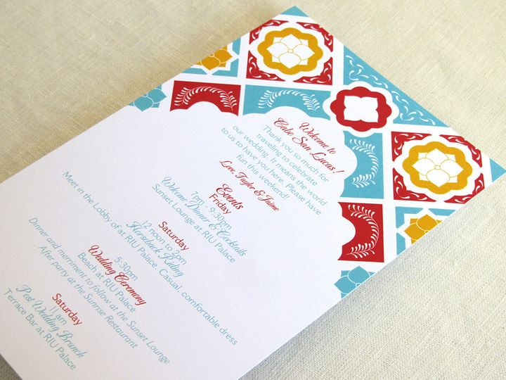 Tmx 1437505770593 Mexican Tile Itinerary Long 2 Phoenixville wedding invitation