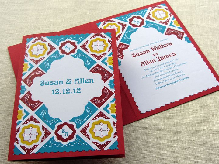 Tmx 1437505798584 Mexican Tile Booklet With Cover Phoenixville wedding invitation