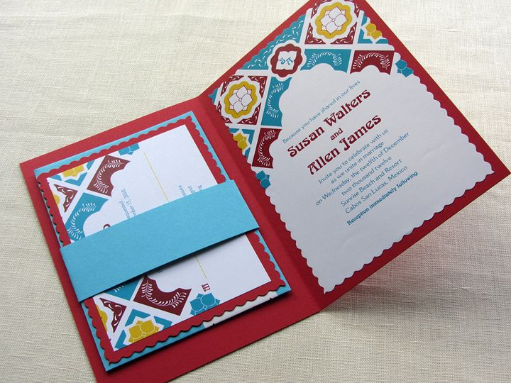 Tmx 1437505804584 Mexican Tile Booklet With Rsvp Phoenixville wedding invitation