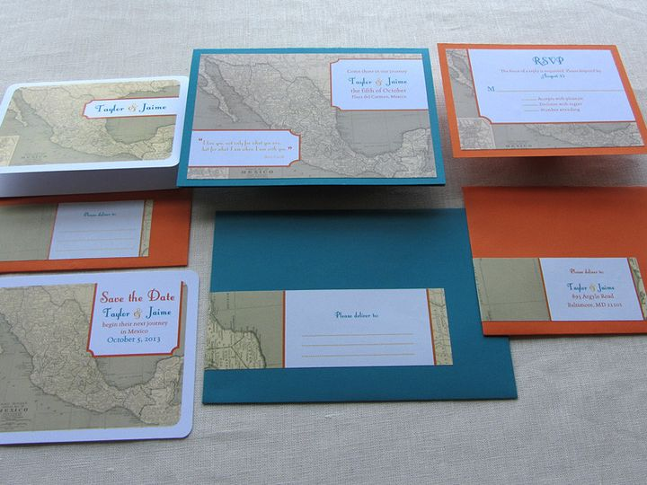 Tmx 1437506359521 Mexico Map Stationery Set Phoenixville wedding invitation