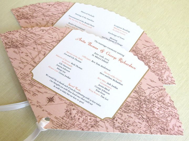 Tmx 1437507316432 Vintage Map Fan Program Phoenixville wedding invitation
