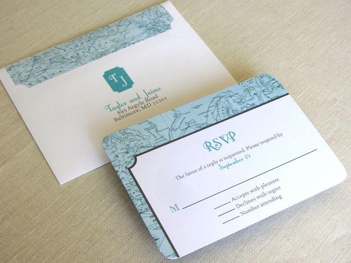 Tmx 1437507320557 Vintage Map Wrap Rsvp Phoenixville wedding invitation