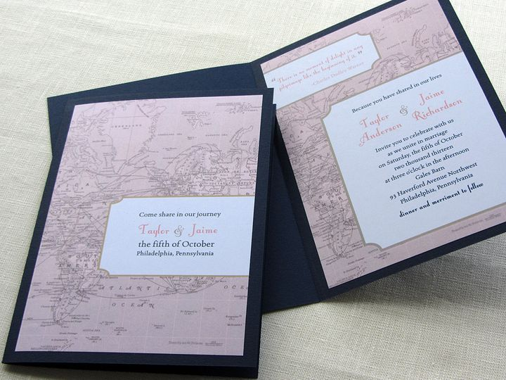 Tmx 1437507337017 Vintage Map Booklet Invite And Cover 2 Phoenixville wedding invitation
