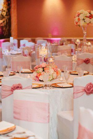 Pink and white table setup
