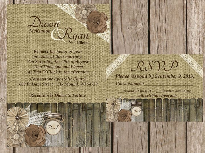 Tmx 1454087305075 Burlap Fence Burlap And Paper Flowers Mason Jar La Eau Claire, WI wedding invitation