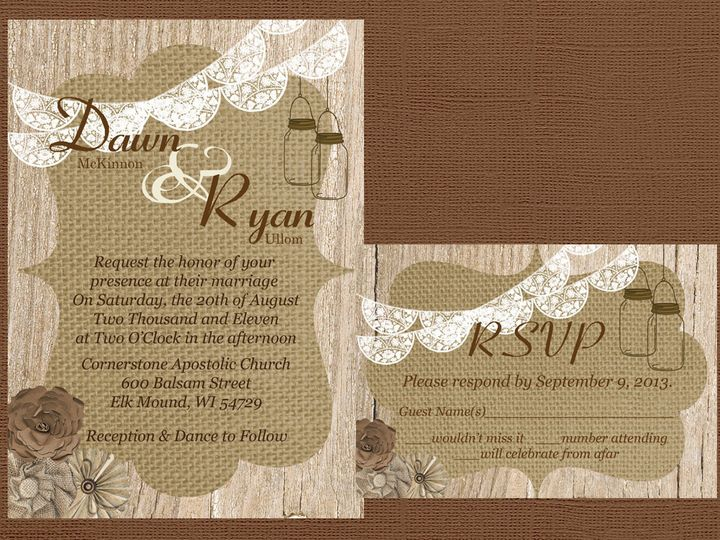 Tmx 1454087405975 Wood Burlap Frame Flower Cluster Lace Banner Mason Eau Claire, WI wedding invitation