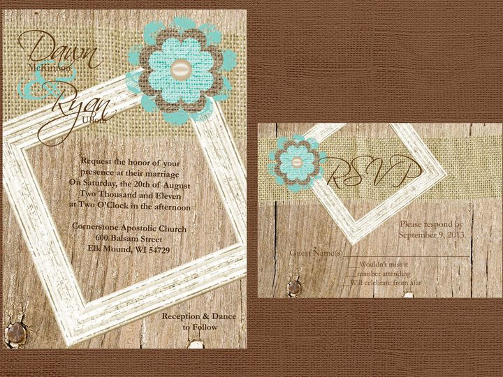 Tmx 1454087412120 Wood Burlap And Frame With Lace And Burlap Flower  Eau Claire, WI wedding invitation