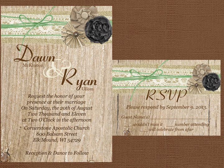Tmx 1454087418097 Wood Burlap. Lace. Flower Cluster Twine Eau Claire, WI wedding invitation