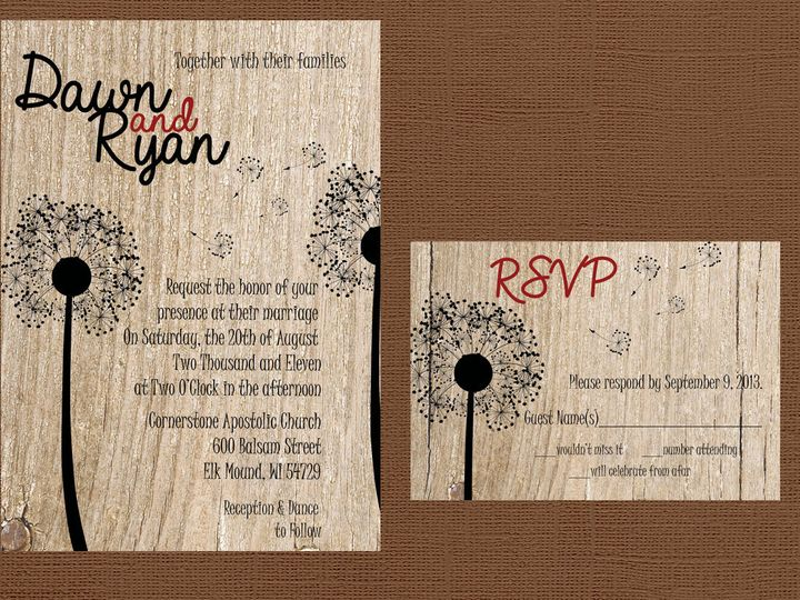 Tmx 1454087426034 Wood Dandelion Red And Invite Eau Claire, WI wedding invitation
