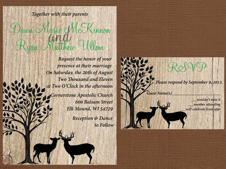 Tmx 1454087431352 Wood Deer Tree Eau Claire, WI wedding invitation