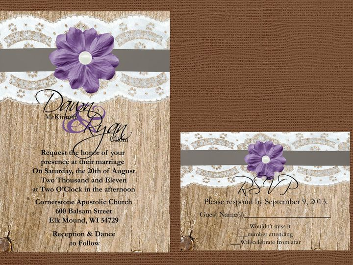 Tmx 1454087445658 Wood Lace Ribbon Purple Flower Eau Claire, WI wedding invitation