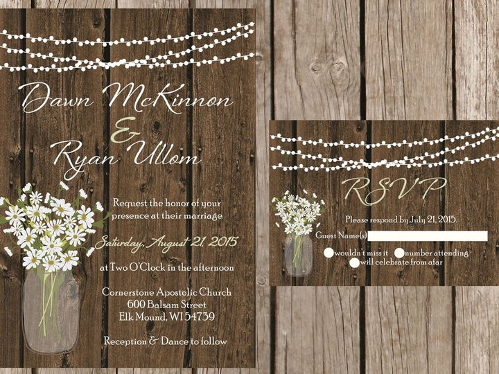 Tmx 1454087452913 Wood Light Strand Daisies Eau Claire, WI wedding invitation