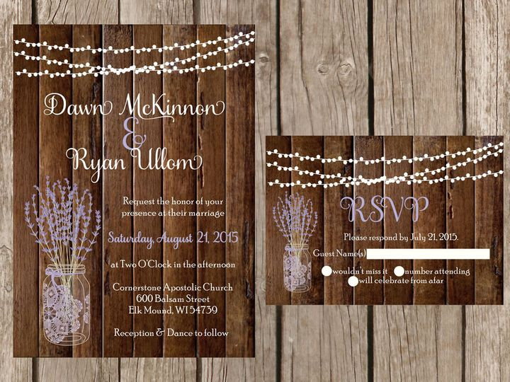 Tmx 1454087459842 Wood Light Strand Lavender Eau Claire, WI wedding invitation