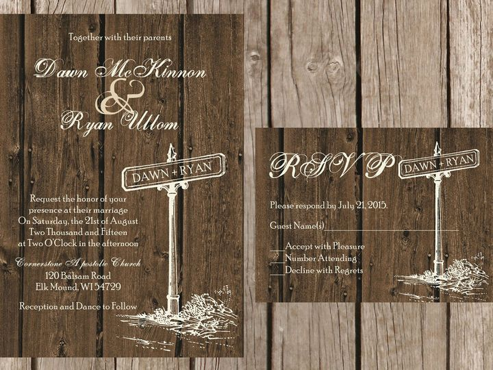 Tmx 1454087480722 Wood Street Sign Eau Claire, WI wedding invitation