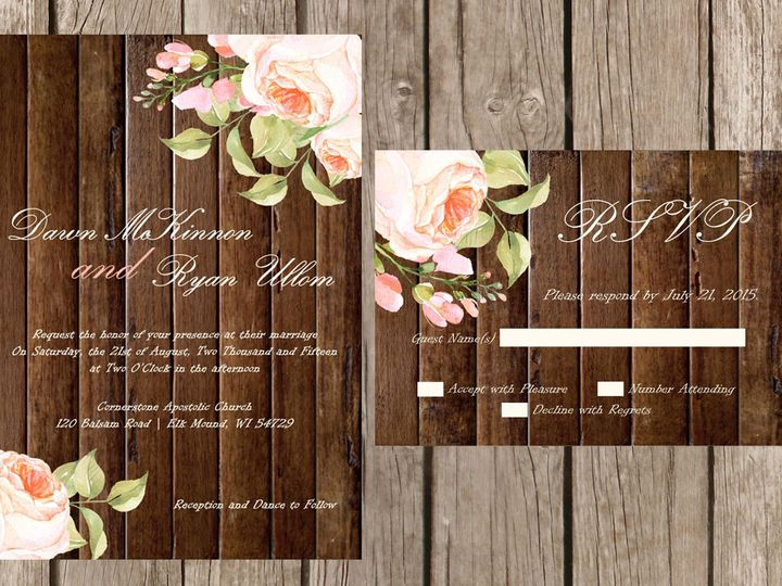 Tmx 1454087487155 Wood Watercolor Flowers Pink Eau Claire, WI wedding invitation