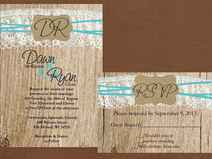 Tmx 1454087493638 Wood Wavy Lace Twine With Burlap Initial Frame Eau Claire, WI wedding invitation