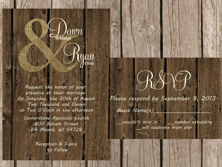 Tmx 1454087499755 Woodburlap  Symbol Eau Claire, WI wedding invitation