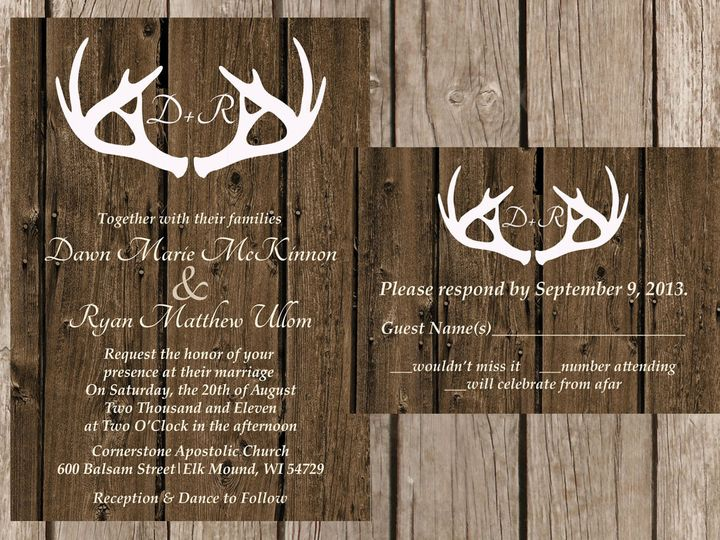 Tmx 1454087506039 Woodwhite Antlers Initials Eau Claire, WI wedding invitation